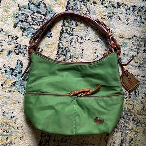 Dooney & Bourke Green Nylon Brown Leather Trim